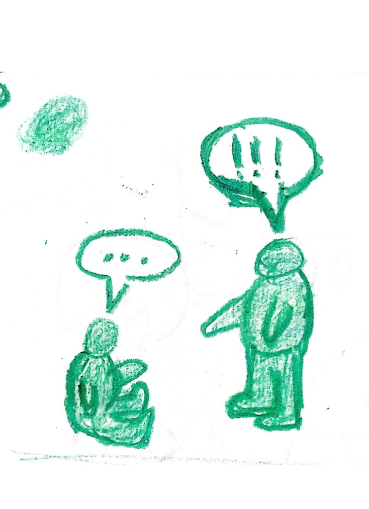 Two green cartoon people in conversation - one sitting on the ground, with ... coming from a speech bubble - they look up towards the second person, where !!! comes from their speech bubble.