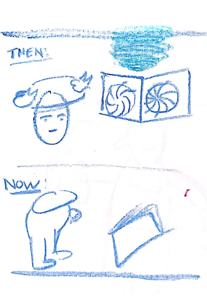 """A drawing with the top labelled """"THEN"""" and the bottom labelled """"NOW"""" - In """"then"""" there is a person's head with a swirling object around their head, representing how research """"made my head spin"""" and in the bottom, there's a more confident-looking cartoon reading a book."""